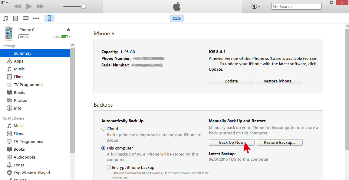 itunes backup iphone