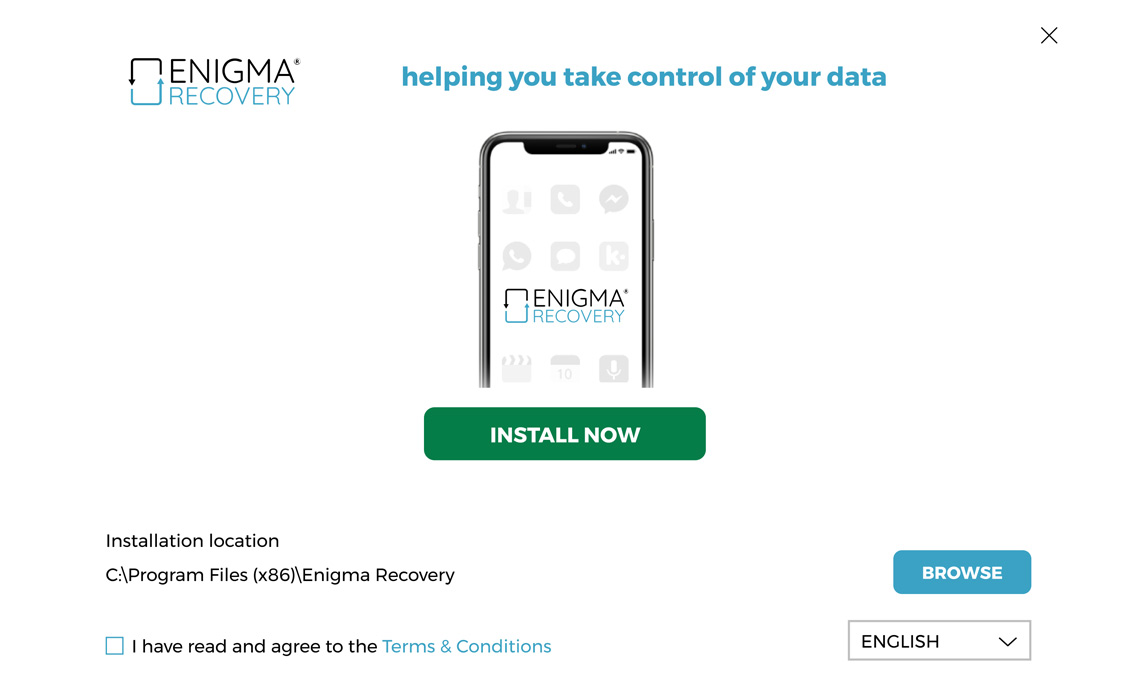 Enigma recovery software install screen