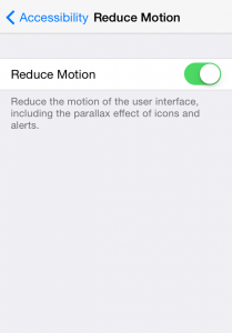 iphone settings reduce motion