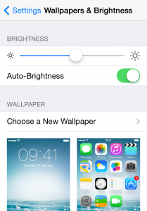 iPhone settings brightness